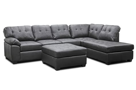 Mario Brown Leather Modern Sectional Sofa With Ottoman