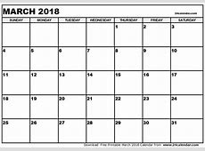 March 2018 Calendar Template 2018 calendar printable