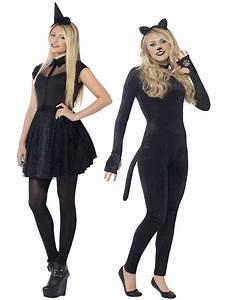 Ladies Teen Girls Black Cat Witch Costume Halloween Fancy ...