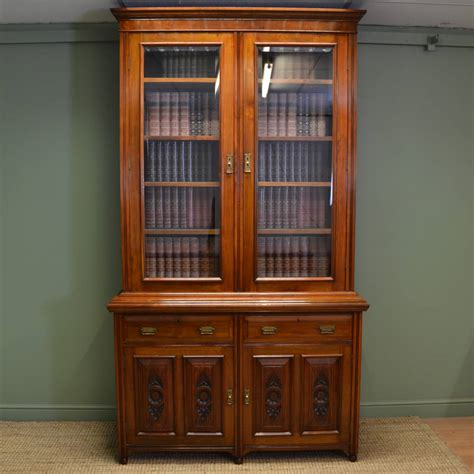 Antique Cupboard by Large Solid Walnut Antique Bookcase On Cupboard