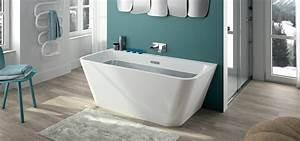 Baignoire Ilot Contre Mur : baignoire autoportante adosser contre un mur myva aquarine ~ Nature-et-papiers.com Idées de Décoration