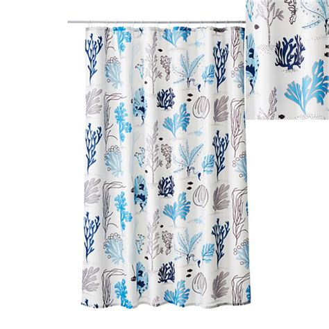 ikea miean fabric shower curtain blue white sea