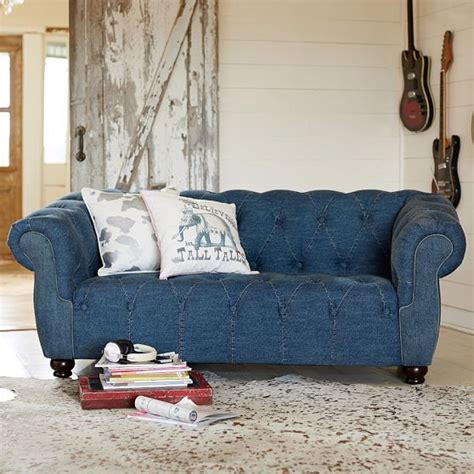 blue jean denim sofa coveting junk gypsy and pottery barn teen 39 s boho chic home