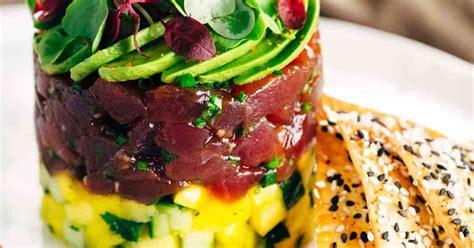 hawaiian bigeye tuna tower  wonton crisps jessica gavin
