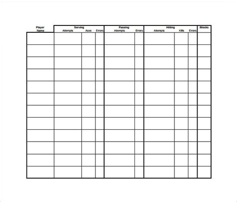 stat sheet templates coaching volleyball volleyball