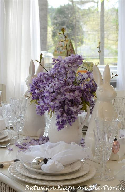 easter tablescapes table settings  wisteria  bunny