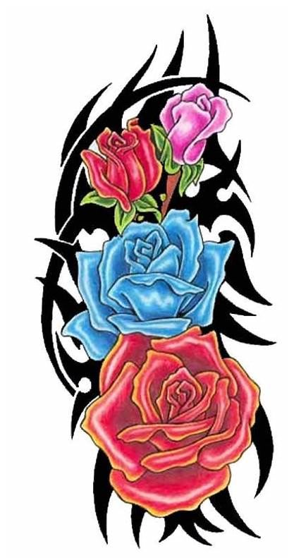 Tribal Tattoo Rose Roses Tattoos Designs Colored