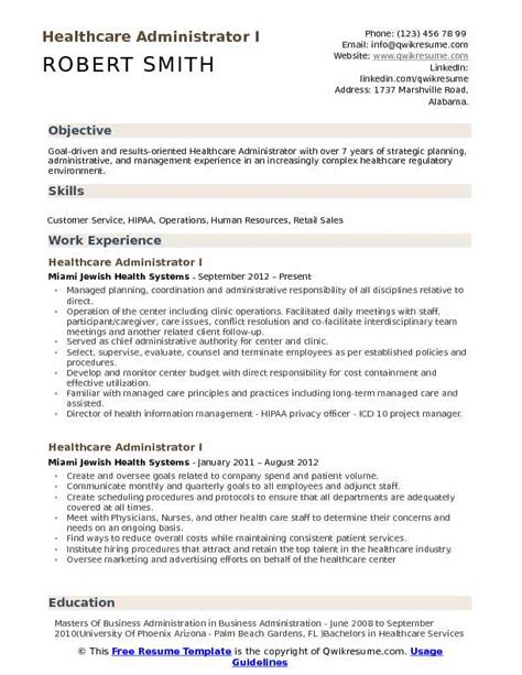 24 amazing medical resume examples livecareer. Healthcare Administrator Resume Samples | QwikResume