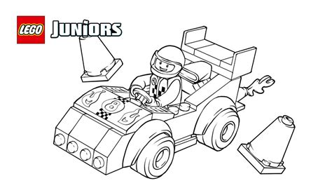 Lego Juniors Race Car Coloring Page Coloring Pages