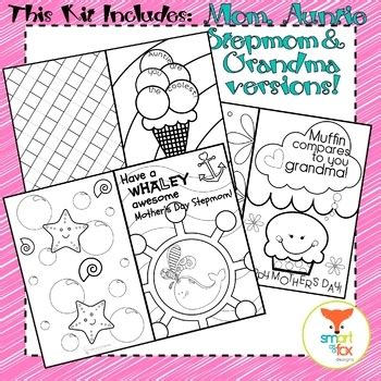 mothers day coloring craft card printable mom stepmom