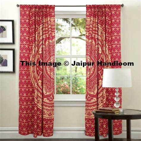 Drapes India - golden mandala living room window curtains indian 2 panel