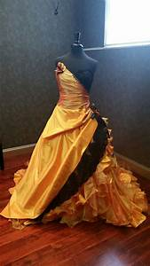 Halloween orange and black wedding dress by for Black and orange wedding dresses