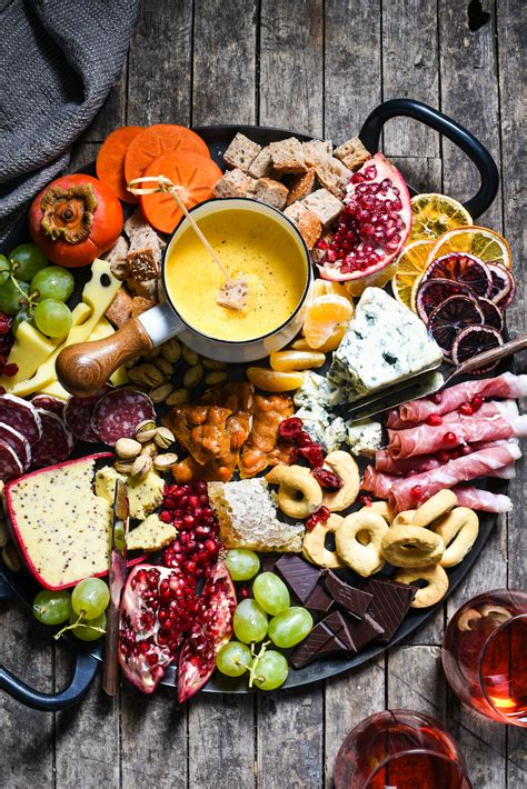 winter cheese board  german beer cheese fondue foxes