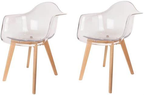 chaise avec accoudoir pas cher lot de 2 chaises scandinaves avec accoudoir transparentes