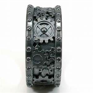 Steampunk black silver gear ring steam punk wedding ring for Gear mens wedding ring