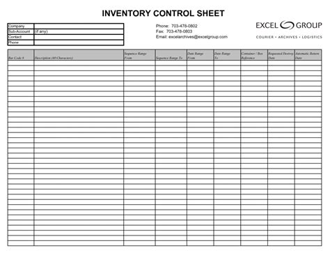 inventory templates samples  excel