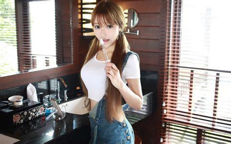 asian korean women overalls wallpapers hd desktop