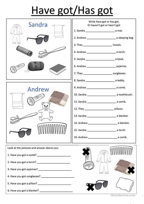 camping havehas  worksheet  esl printable
