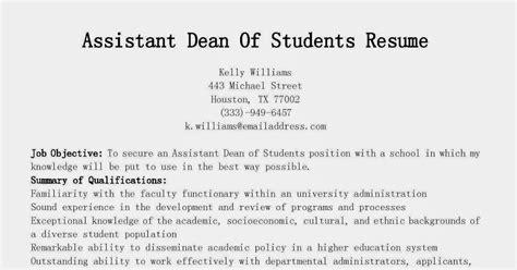 resume samples assistant dean  students resume sample
