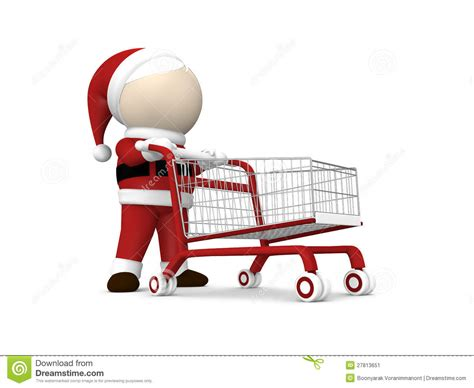 santa claus and shopping cart stock image image 27813651