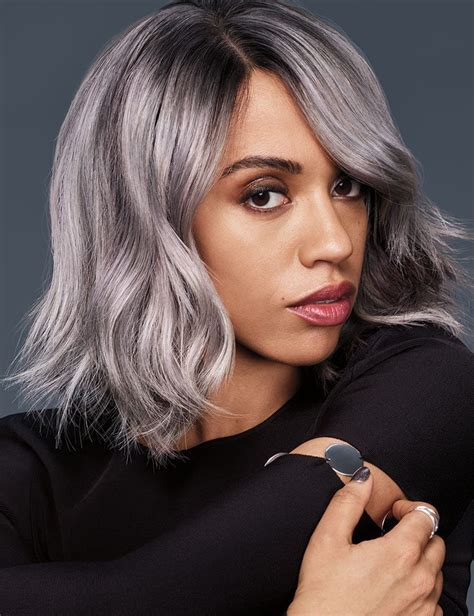 play  gray silver ombre haircolor redken
