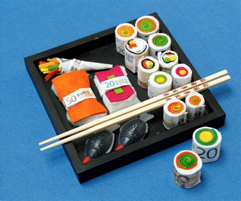 geldgeschenke schoen verpackt sushi als geldgeschenk