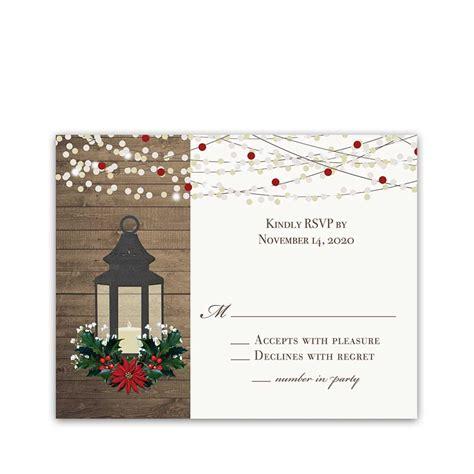 Winter Wedding RSVP Card Lantern with Holly Poinsettia