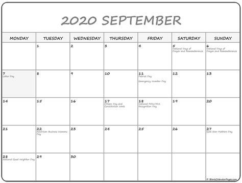 September 2020 Monday Calendar   Monday to Sunday
