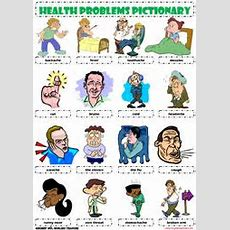 Health Problems Illnesses Sickness Ailments Injuries Pictionary Poster Vocabulary Worksheet Icon
