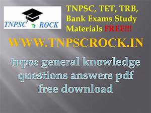 Tnpsc Exams General Knowledge Questions Answers Pdf Free
