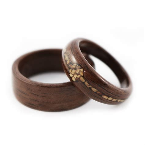 wooden wedding ring quot nuts about you quot walnut with walnut shell inlay wedding 1492