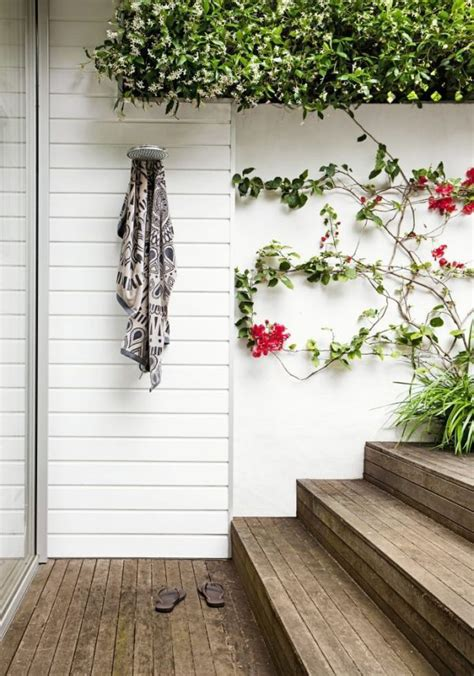 simple white outdoor shower designs homemydesign