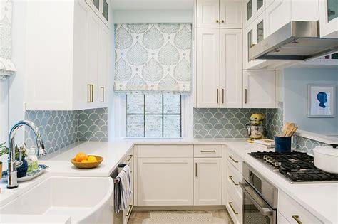 white  blue kitchen  blue fish scale tile