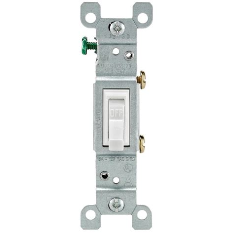 leviton 15 single pole toggle light switch white r52