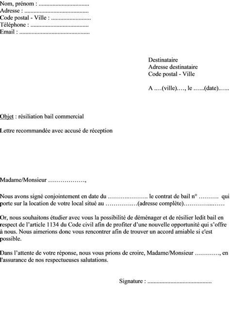 bureau des naturalisations modèle de lettre locataire pour résilier bail commercial