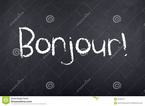 French Word Bonjour Vector Illustration