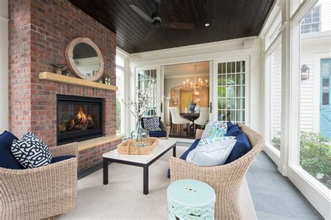 sunroom  dark stained plank ceiling transitional