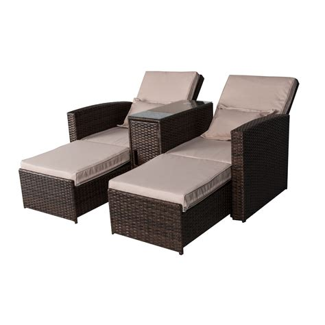 rattan chaise lounge outdoor outsunny 3 outdoor rattan wicker chaise lounge