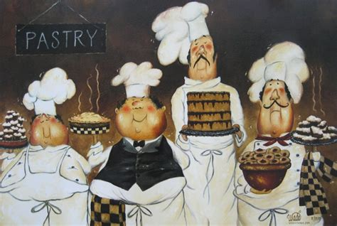Italian Chef Kitchen Wall Decor by Four Pastry Chefs Print Chef Wall Chefs