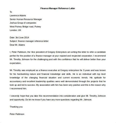 recommendation letter for finance manager cover letter