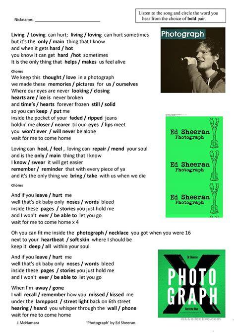 song photograph  ed sheeran english esl worksheets