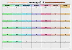 Monthly Printable Calendar January 2017