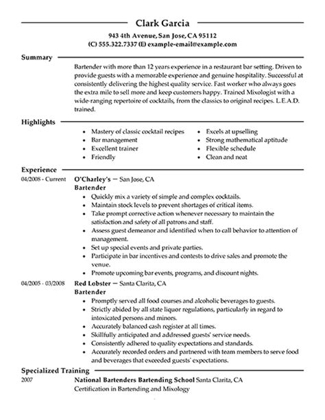 Bartender Description For Resume by Bartender Resume Description Writingfixya Web Fc2