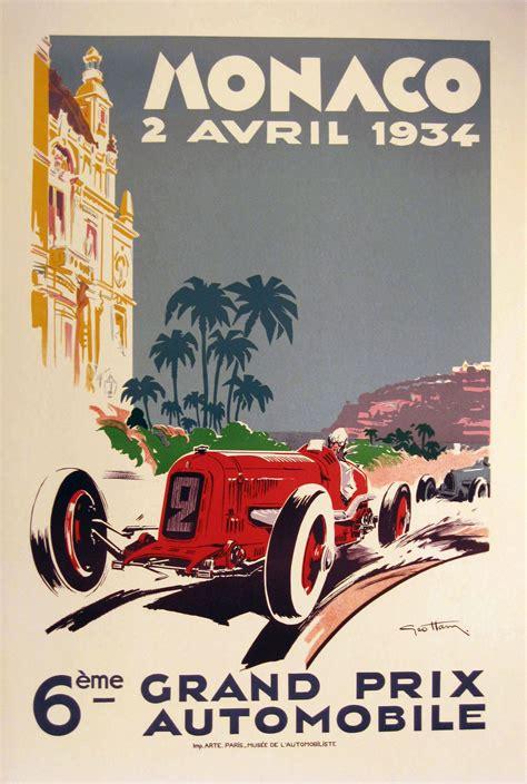 monaco grand prix twenty  vintage posters
