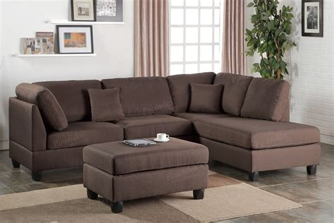 Chocolate Fabric Reversible Chaise Sectional Sofa + Ottoman