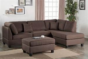 chocolate fabric reversible chaise sectional sofa ottoman With sectional sofa with reversible chaise ottoman