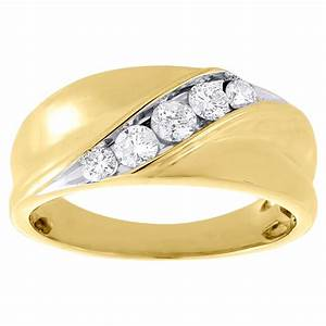 10k yellow gold mens round cut diamond wedding band With mens diamond wedding rings yellow gold