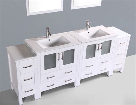 Contemporary 84 Inch White Double Sink Bathroom Vanity Set