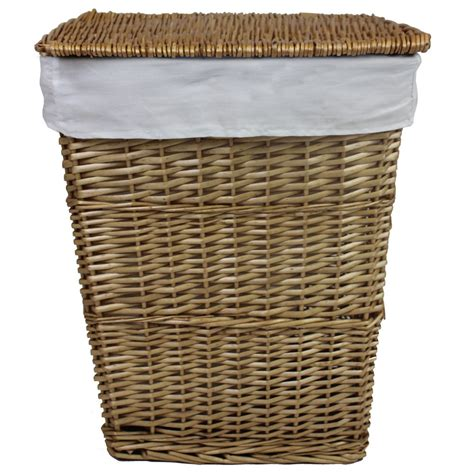 wicker laundry baskets with handles jvl classic lined willow wicker linen washing clothes 1898