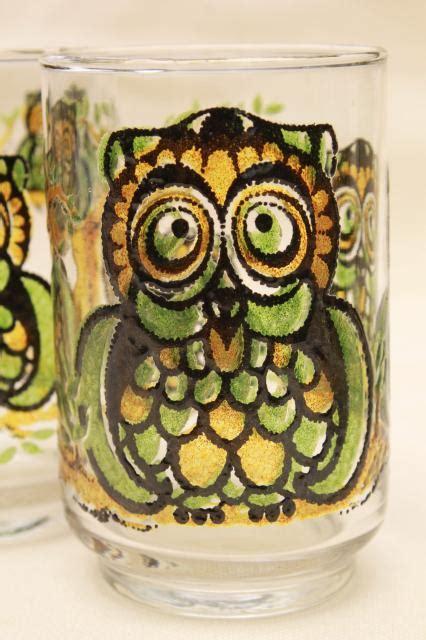 retro owl print libbey glass drinking glasses vintage